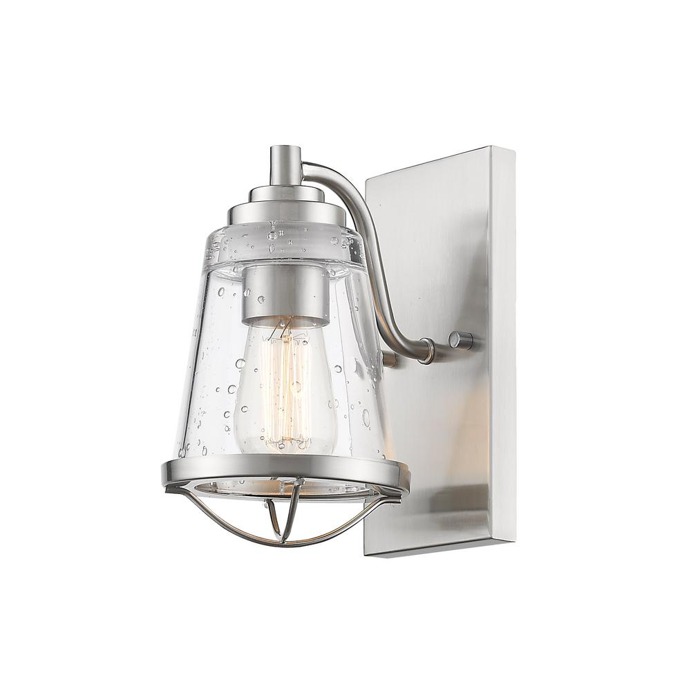 Lorinda 1-Light Brushed Nickel Wall Sconce with Clear Seedy Glass Shade