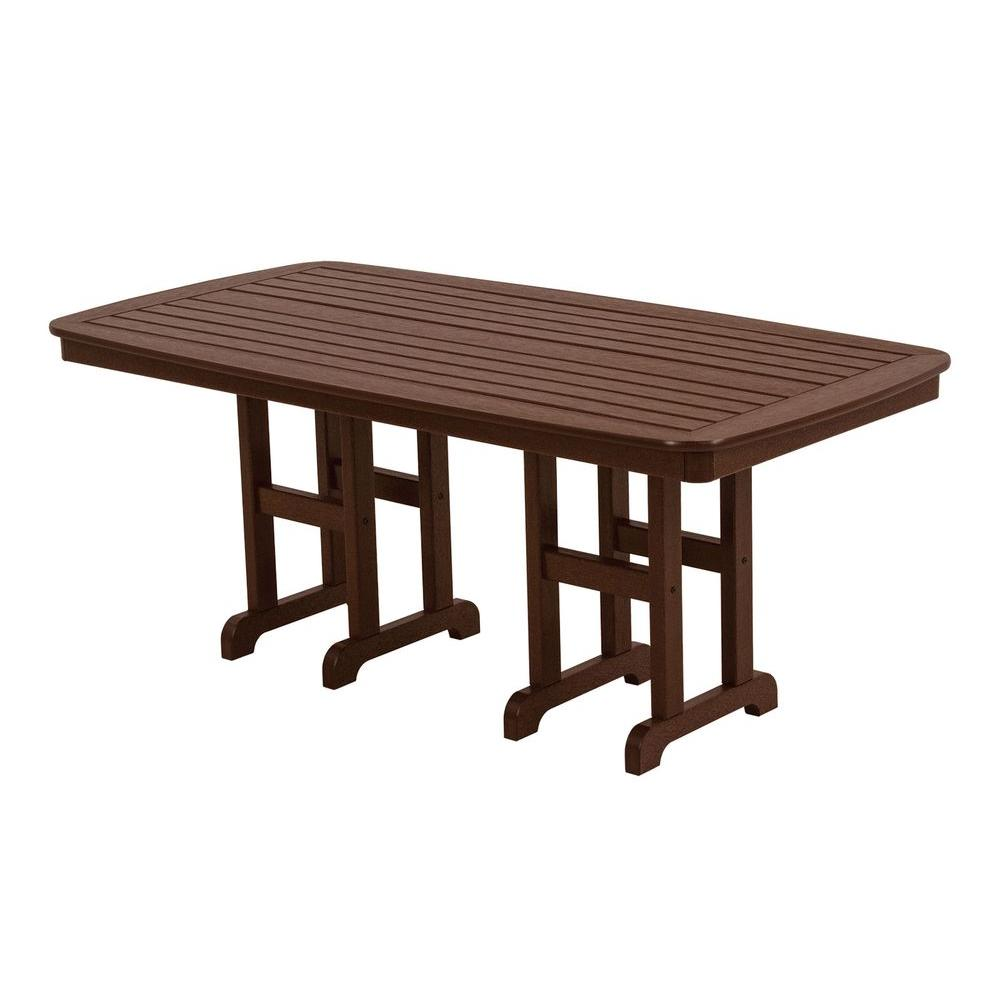 Polywood Nautical 37 In X 72 In Mahogany Plastic Outdoor Patio