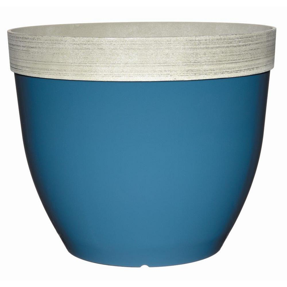 null Sanibel 22 in. Peacock Blue Plastic Planter