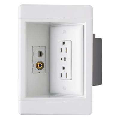 Plastic White 1-Gang Recessed TV Box with Surge Protective Outlet and Low-Voltage Kit