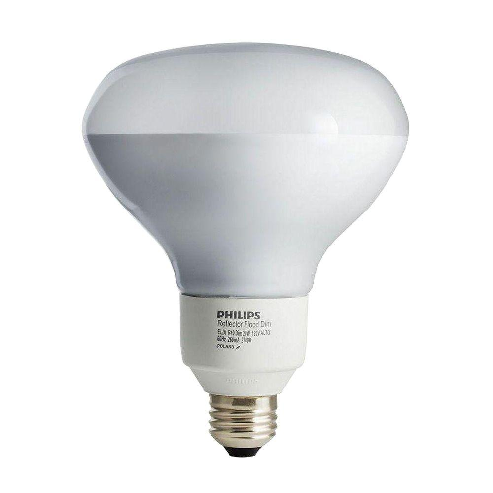 Philips 65W Equivalent Soft White (2700K) R30 Dimmable CFL Flood Light Bulb (4-Pack)