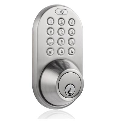 Satin Nickel Single Cylinder Electronic Touch Pad Deadbolt with Back-Lit Keypad