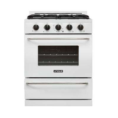 30 in. 3.9 cu. ft. Propane Off-Grid Gas Range with Battery Ignition Sealed Burners in White