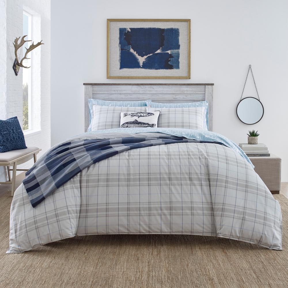 Grays Harbor Plaid Grey 3-Piece Full/Queen Cotton Duvet