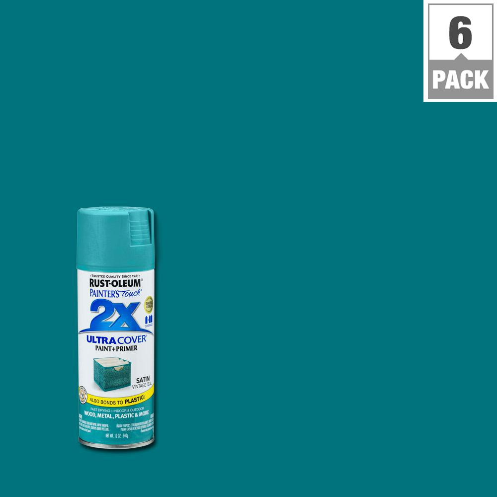 12 oz. Satin Vintage Teal General Purpose Spray Paint (6-Pack)