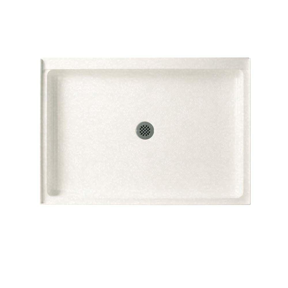 Swan 34 in. x 48 in. Solid Surface Single Threshold Shower Floor in Tahiti White