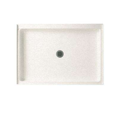 34 in. x 48 in. Solid Surface Single Threshold Shower Floor in Tahiti White
