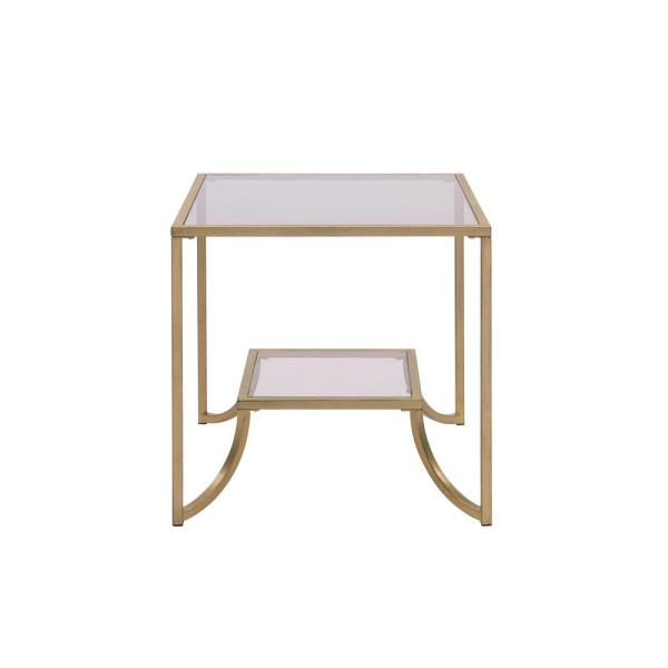 Acme Furniture Magalie Antique Gold and Smoky Glass End Table 81117