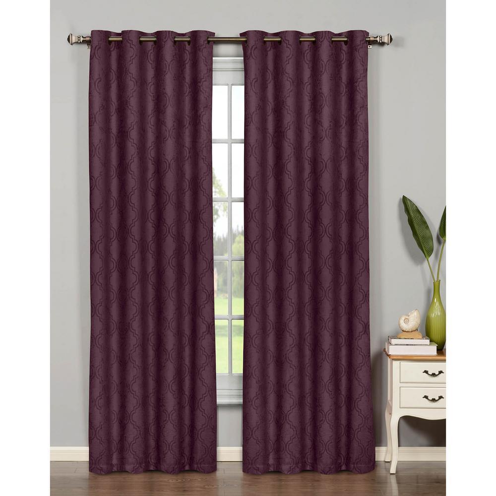 Semi-Opaque Newbury Lattice 84 in. L Room Darkening Grommet Curtain Panel Pair, Plum (Set of 2)