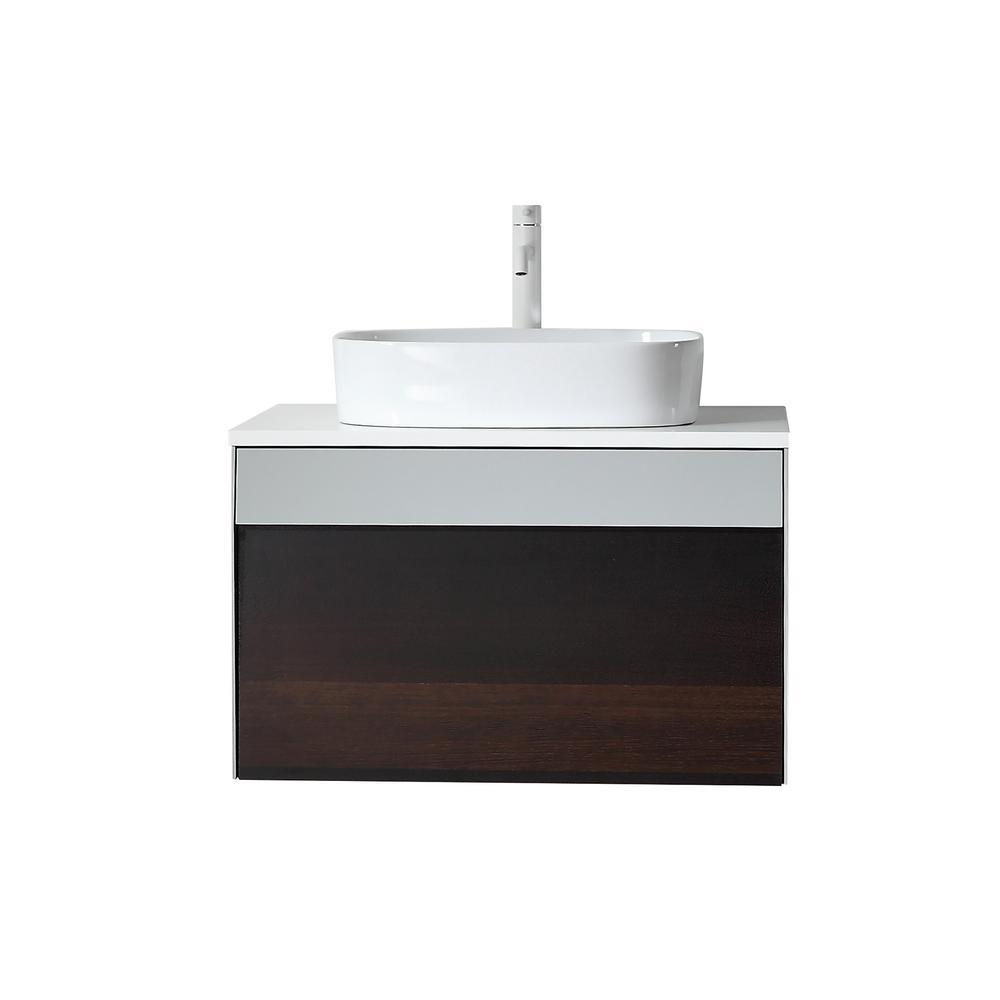 30 in. W x 20 in. D Vanity in Smoke Gray with Quartz Vanity Top in White with White Basin