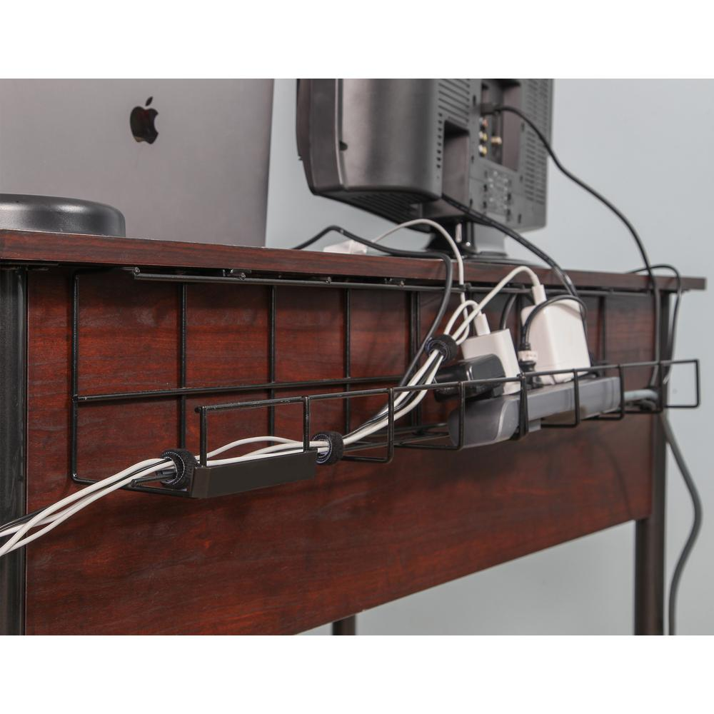 37 in. Wire Tray Desk Cable Organizer, Black