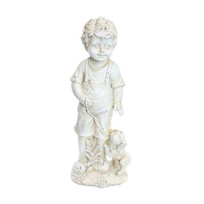 Boy with Puppy Cream Garden Statue