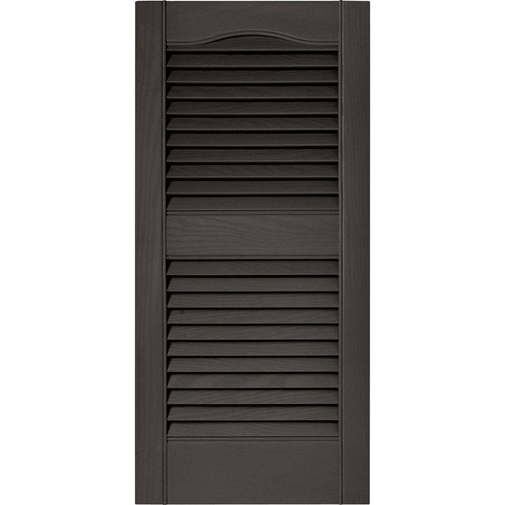 Builders Edge 15 in. x 31 in. Louvered Vinyl Exterior Shutters Pair in #018 Tuxedo Grey