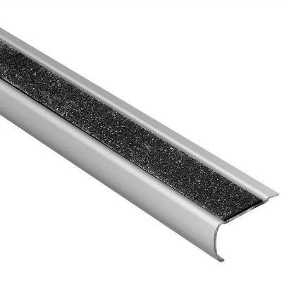 Trep-GK-S Brushed Stainless Steel/Black 1/16 in. x 4 ft. 11 in. Metal Stair Nose Tile Edging Trim