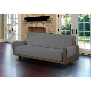 Microfiber Grey Sofa Pet Protector Slipcover with Tucks and Strap by