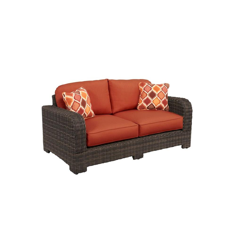 Brown Jordan Northshore Patio Loveseat with Cinnabar Cushions and Empire Chili Throw Pillows -- CUSTOM