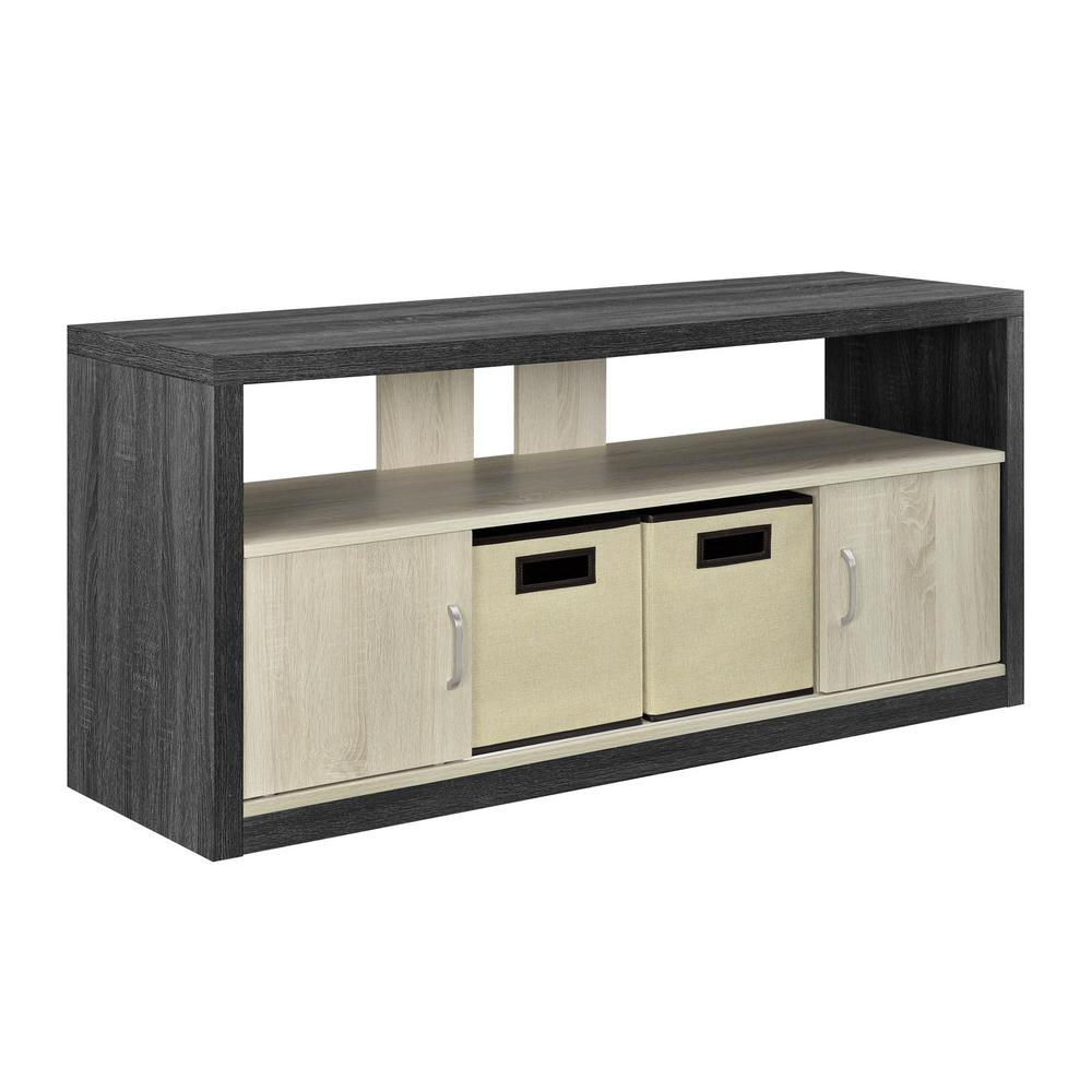 Espresso Light Oak Tv Stand With 2 Fabric