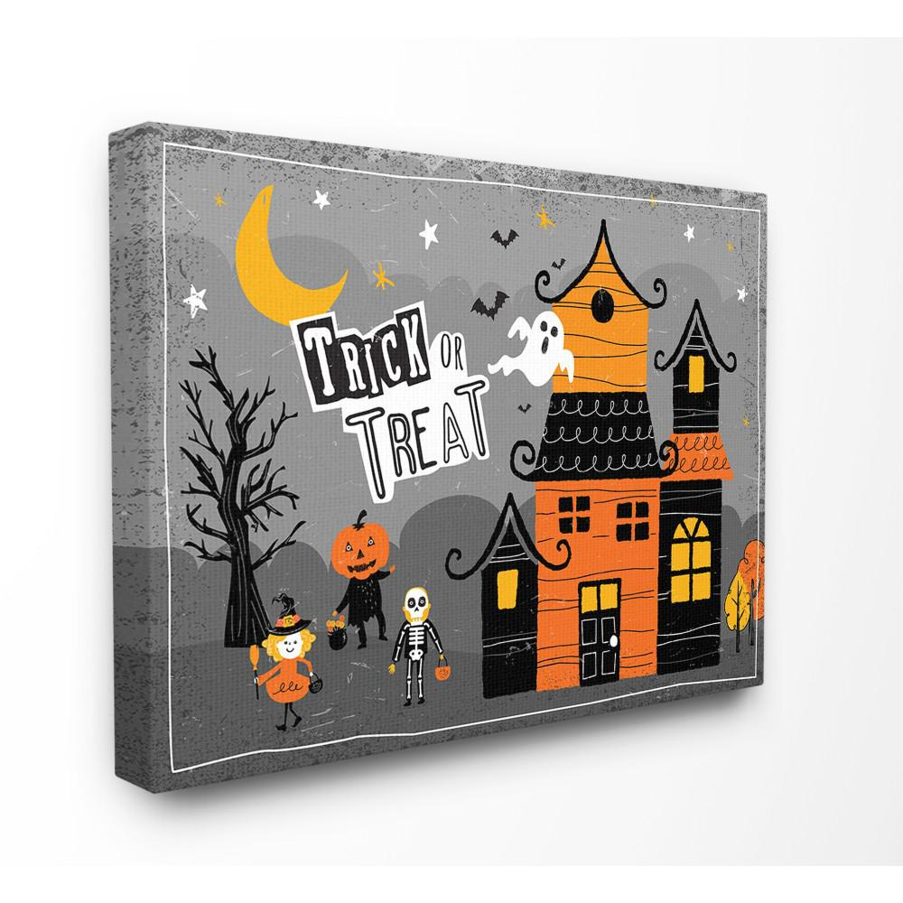 "30 in. x 40 in.""Black Orange and Grey Trick Or Treat"
