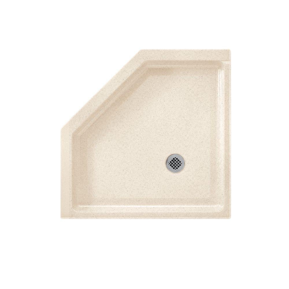 SWAN Neo Angle 38 in. x 38 in. Solid Surface Single Thres...