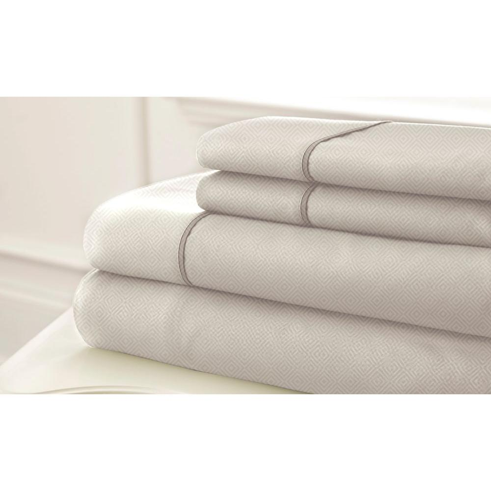 Pacific Coast Textiles Sloan Easy Care Ivory Embossed King Sheet Set (4-Piece)