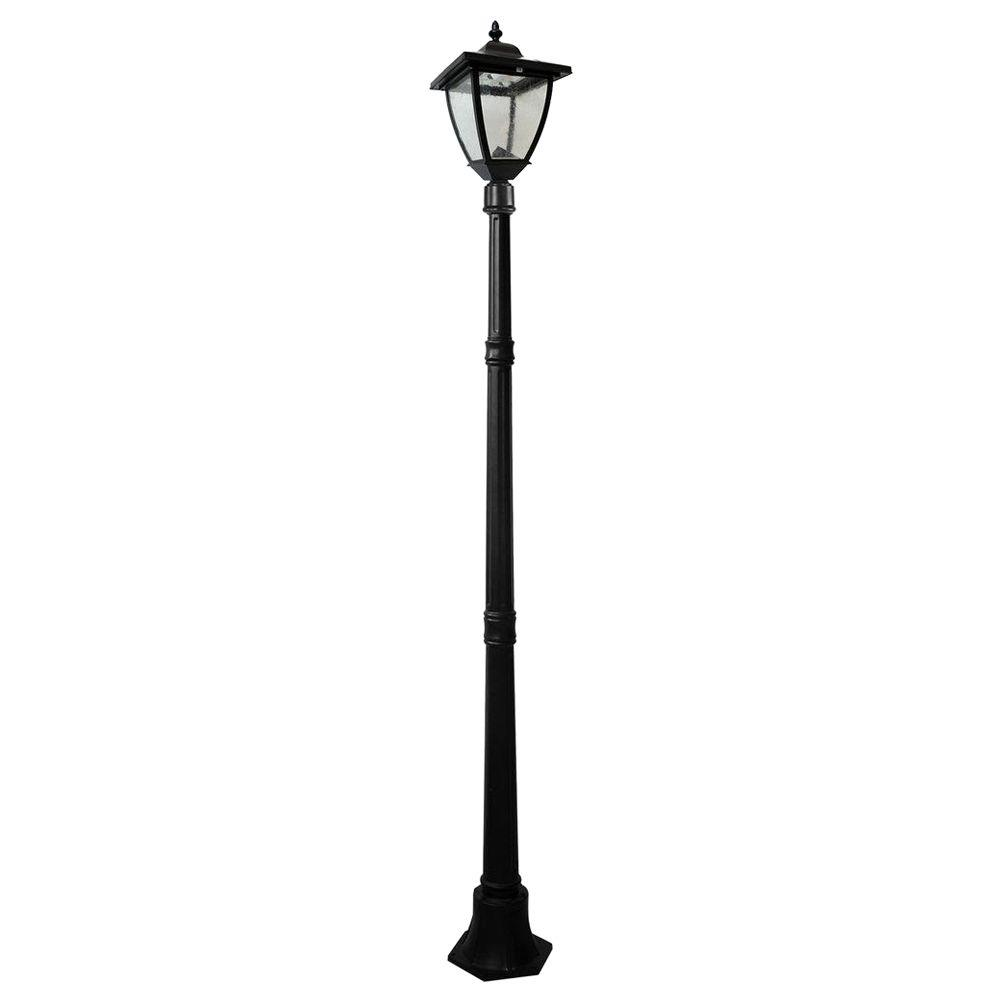 Nature power bayport 72 in outdoor black solar lamp post with outdoor black solar lamp post with super bright natural white aloadofball Image collections