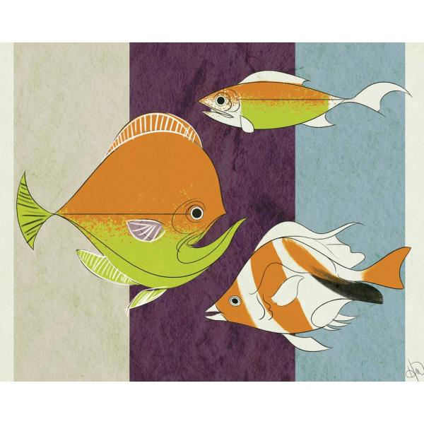 16 in. x 20 in. Fishy Marigold Printed Canvas Wall Art