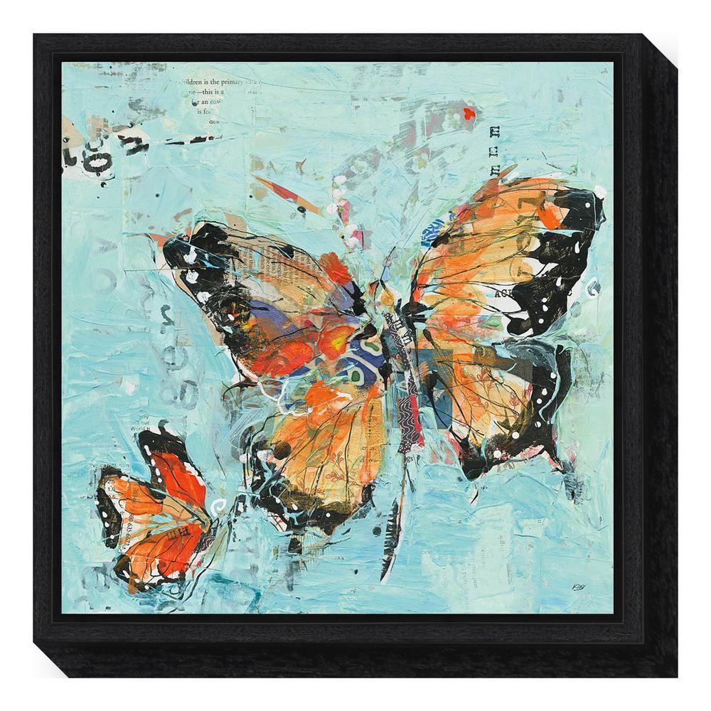 """Monarch II Light Blue"" by Kellie Day Framed Canvas Wall Art"