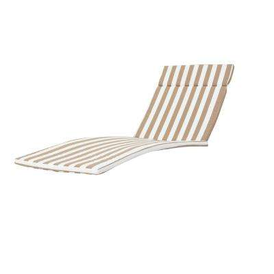 Miller Brown and White Stripes Outdoor Chaise Lounge Cushion
