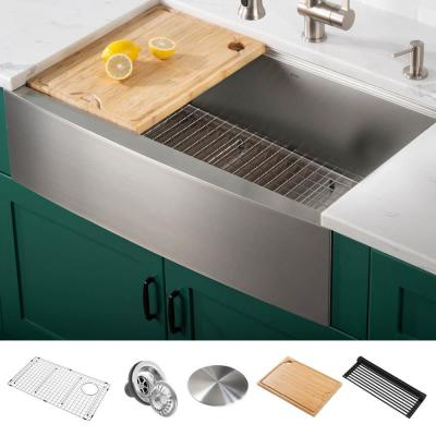 Kore Workstation Farmhouse Stainless Steel 33 in. 16-Gauge Undermount Single Bowl Kitchen Sink with Accessories