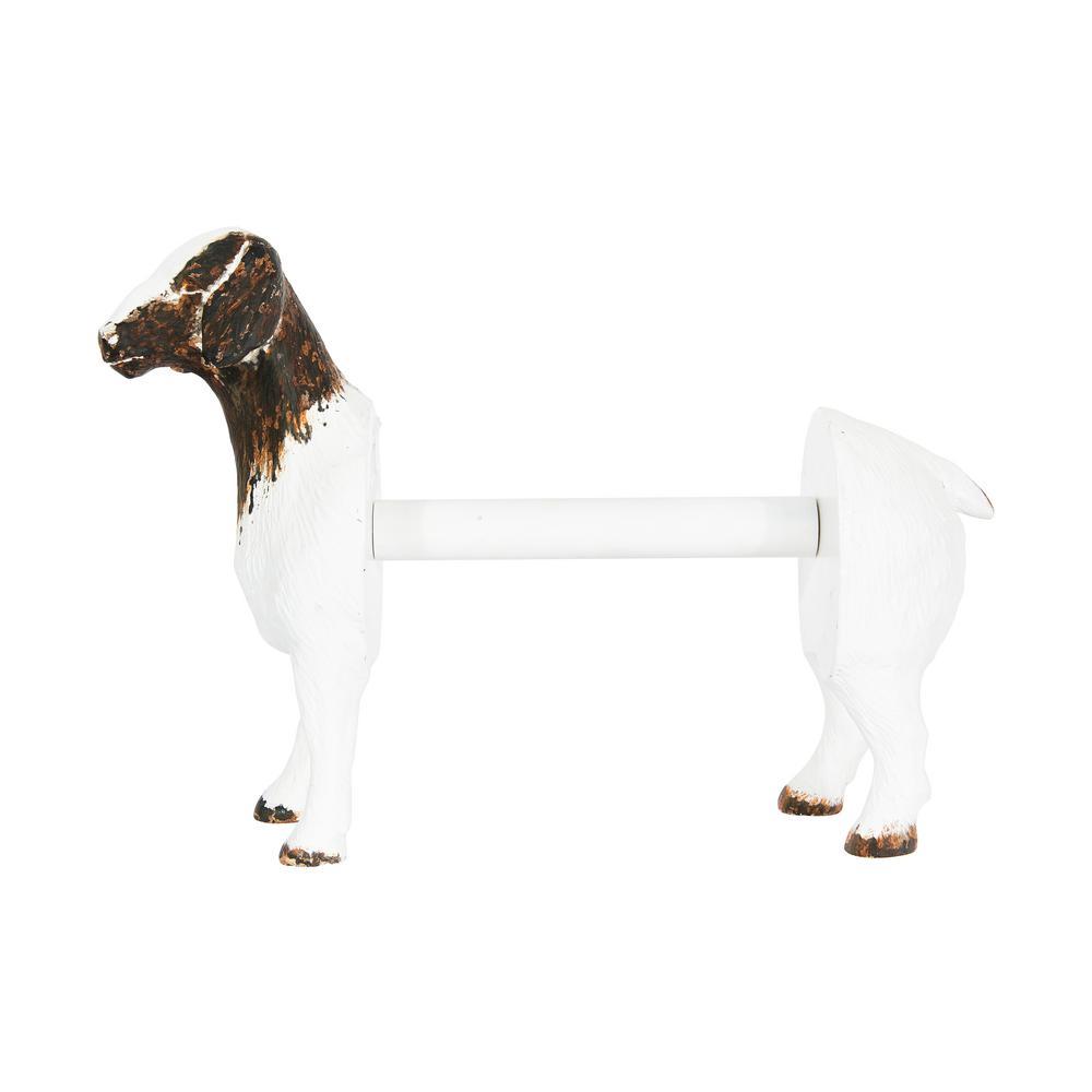 Freestanding White Goat Shaped Paper Towel Holder