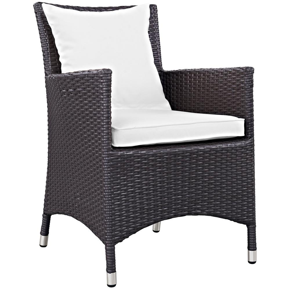 Modway Convene Wicker Outdoor Patio Dining Chair In Espresso With White Cushions