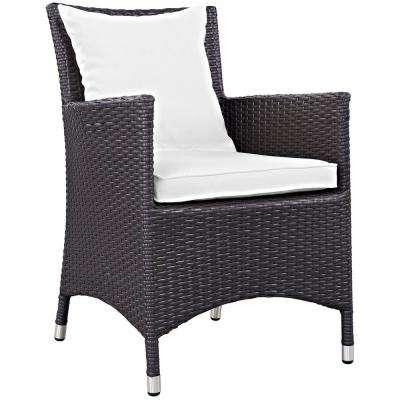 Convene Wicker Outdoor Patio Dining Chair in Espresso with White Cushions