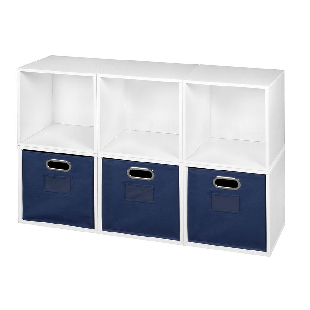 Cubo 39 in. W x 26 in. H White Wood Grain/Blue