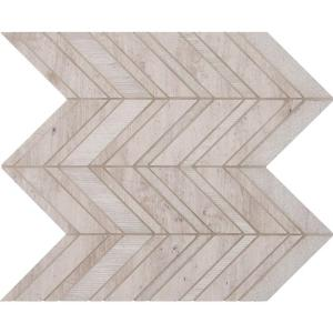White Quarry Chevron 12 in. x 12 in. x 10 mm Natural Marble Mesh-Mounted Mosaic Floor and Wall Tile