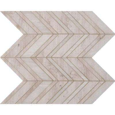 White Quarry Chevron 12 in. x 12 in. x 10mm Natural Marble Mesh-Mounted Mosaic Tile (10 sq. ft. / case)