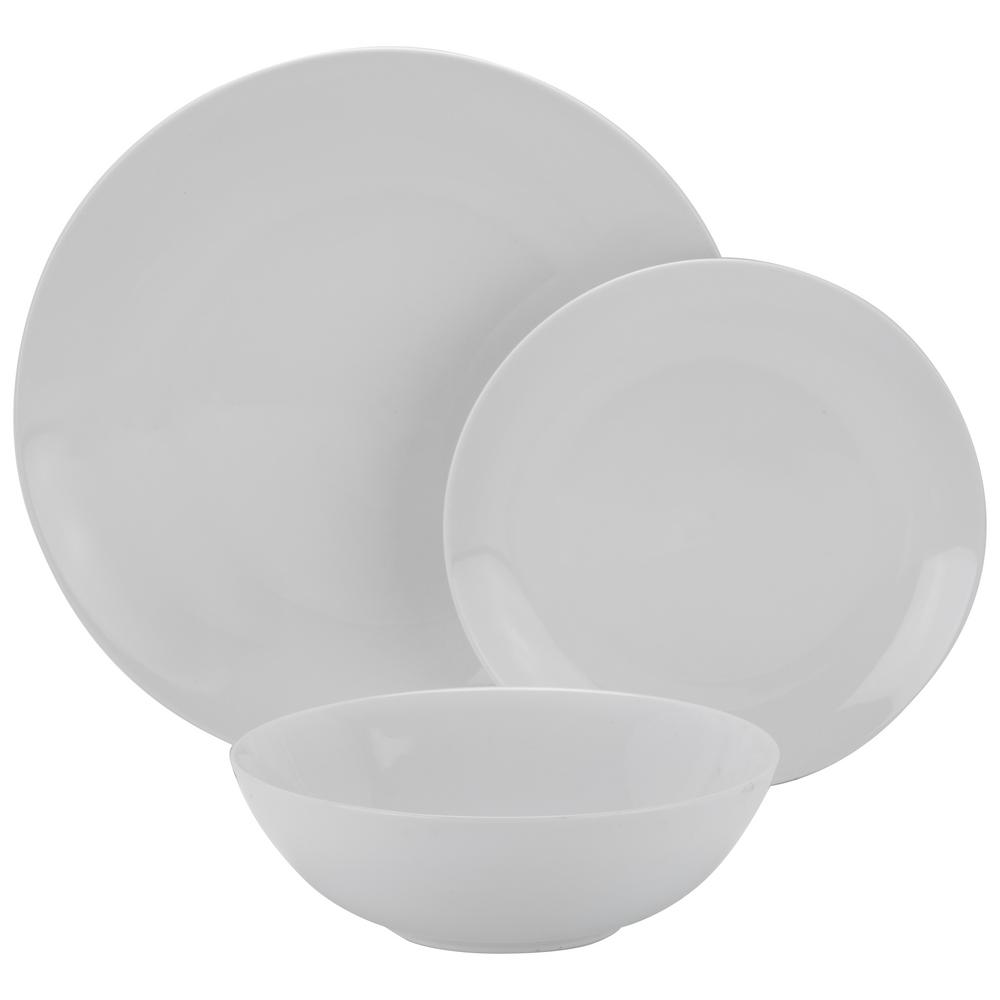 10 Strawberry Street 12-Piece White Coupe Dinnerware Set  sc 1 st  The Home Depot & 10 Strawberry Street 12-Piece White Coupe Dinnerware Set-SM-1200-CP ...