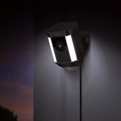 Spotlight Cam Wired Outdoor Rectangle Security Camera, Black