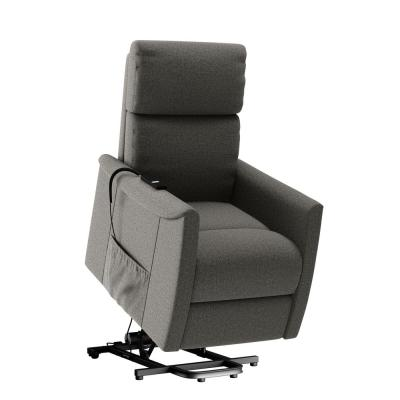 Petite Pewter Gray Chenille Fabric Power Lift Recliner