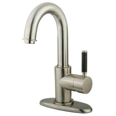 Euro Single Hole Single-Handle Bathroom Faucet in Satin Nickel