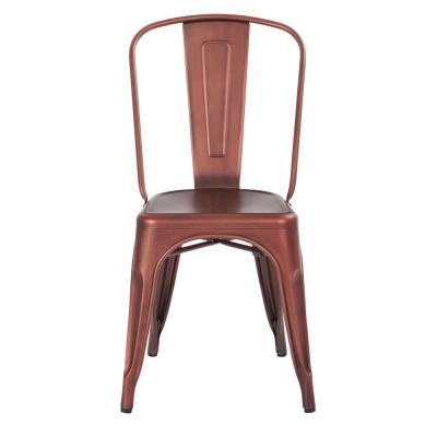 Bristow Brushed Red Copper Armless Metal Chair (Set of 2)