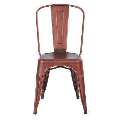 Bristow Brushed Red Copper Armless Metal Chair (2-Pack)