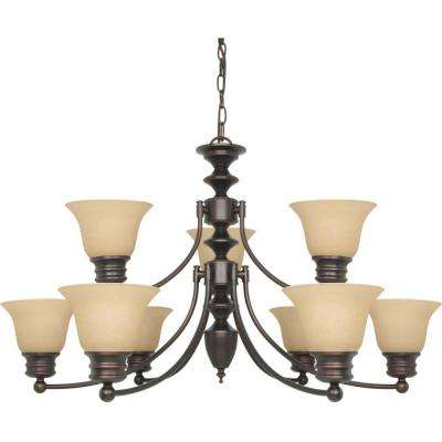 9-Light Mahogany Bronze Chandelier with Champagne Linen Washed Glass Shade
