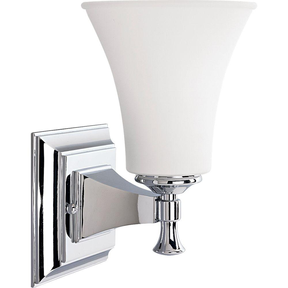 Fairfield Collection 1 Light Chrome Bath Sconce With Opal Etched Glass Shade