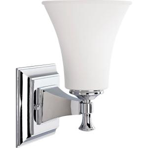 Fairfield Collection 1 Light Chrome Bath Sconce With Opal Etched Glass Shade Progress Lighting