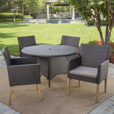 Barnett Multi-Brown 5-Piece Wicker Circular Outdoor Dining Set with Mocha Cushions