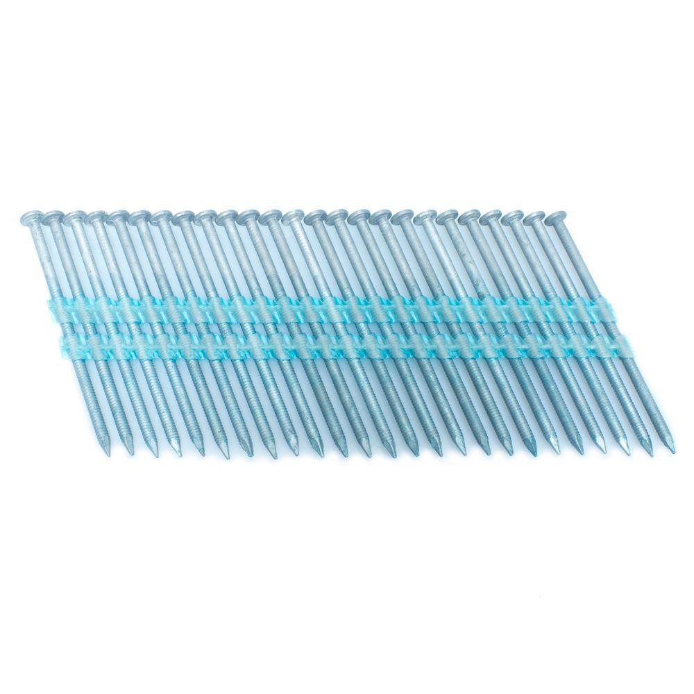 3 in. x 0.121 in. 20 Degree Ring Hot Dip Full Round Head Plastic Strip Nails 3000 per Box