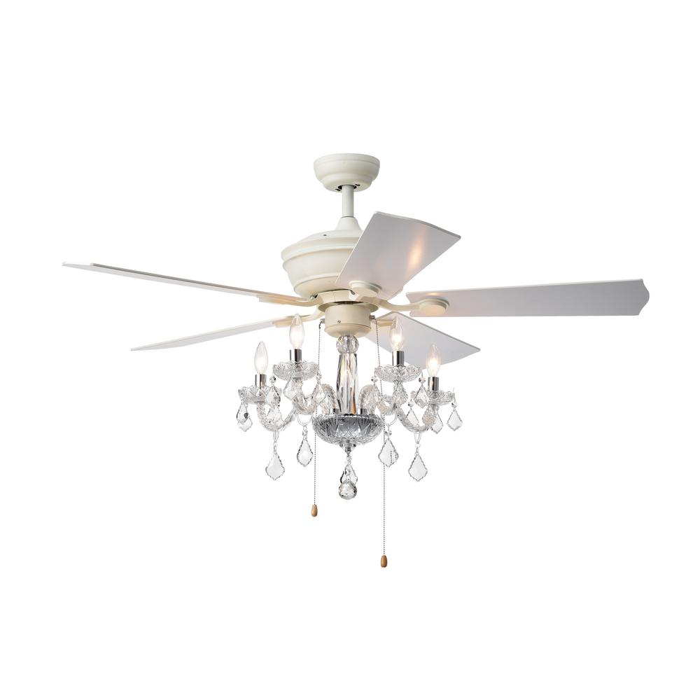 Warehouse Of Tiffany Havorand Ii 52 In Indoor White Ceiling Fan With Light Kit
