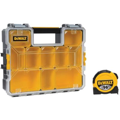 DEWALT 10-Compartment Deep Pro Small Parts Organizer with 16 ft. Tape Measure