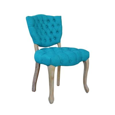 Rubber-Wood Blue Tufted Upholstered Armless Dining Chair - (Set of 2)