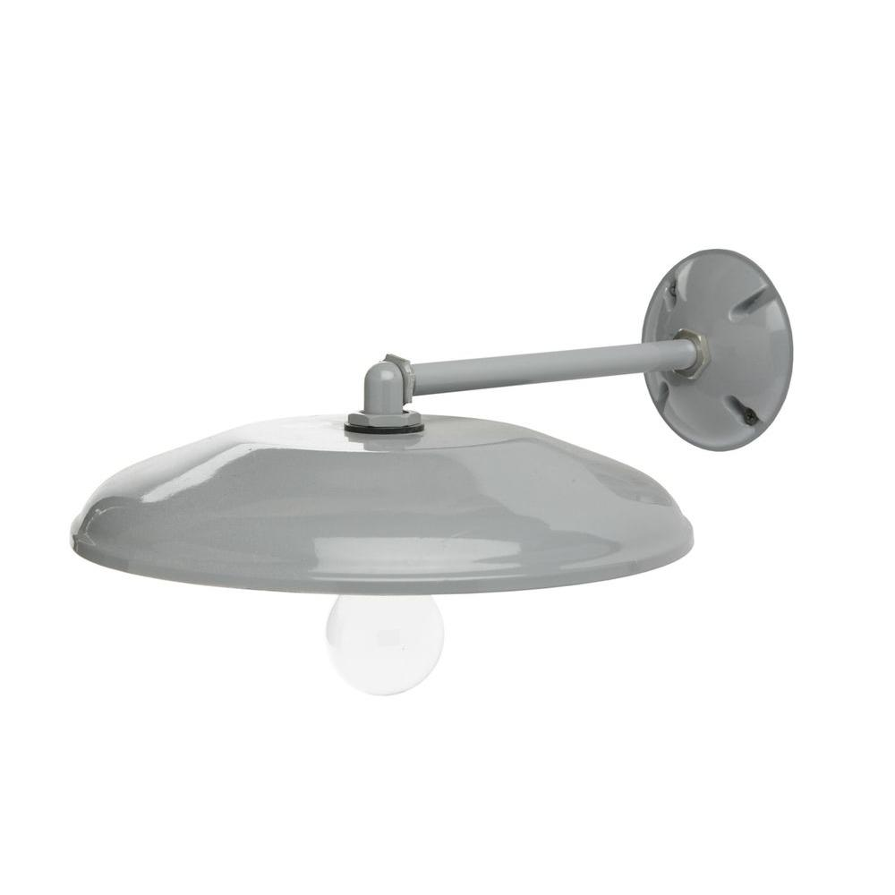 Southwire Farmers 1Light Gray Outdoor Wall Mount Sconce with 12 in. Reflector and Mounting Arm